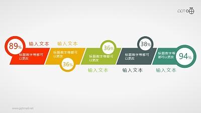 扁平化带数据展示的时间轴PPT素材