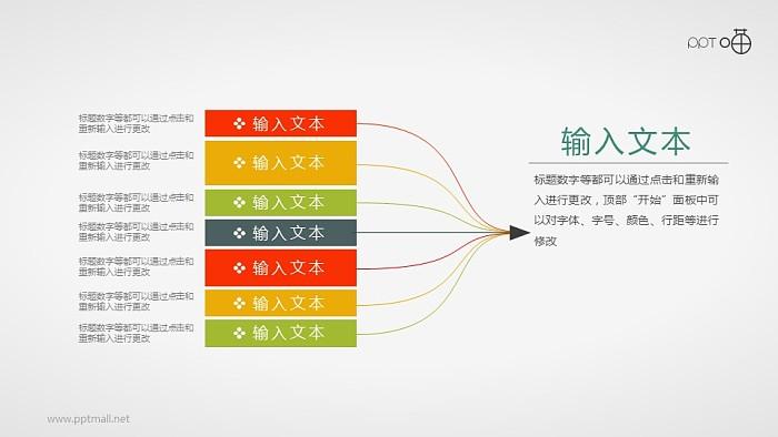 扁平化8合1的汇聚关系思维导图PPT素材_幻灯片预览图1