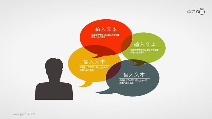 表达思维与交流的扁平化人像和气泡对话框素材_幻灯片预览图1
