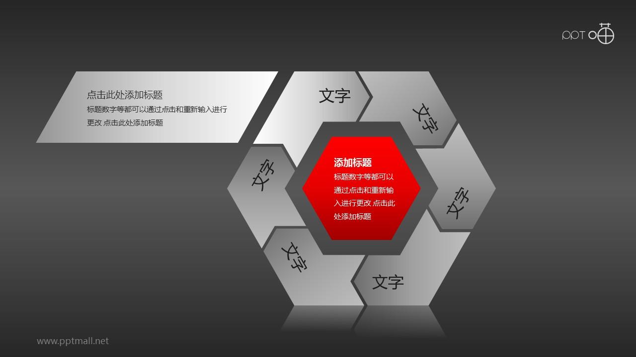 红黑遒劲六边形循环图组PPT模板下载