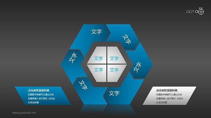 蓝黑内敛六边形循环图组PPT模板下载_幻灯片预览图2