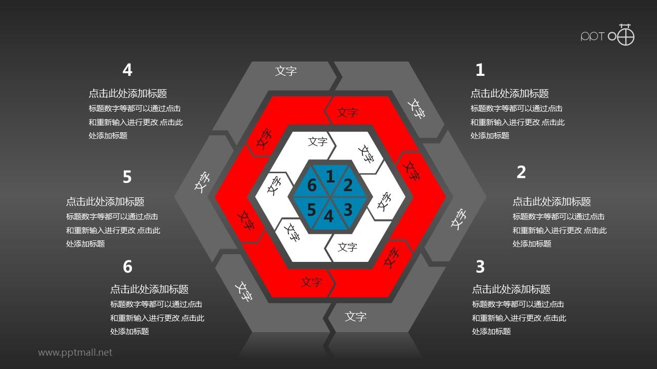红黑灰遒劲六边形多层循环图组PPT模板下载