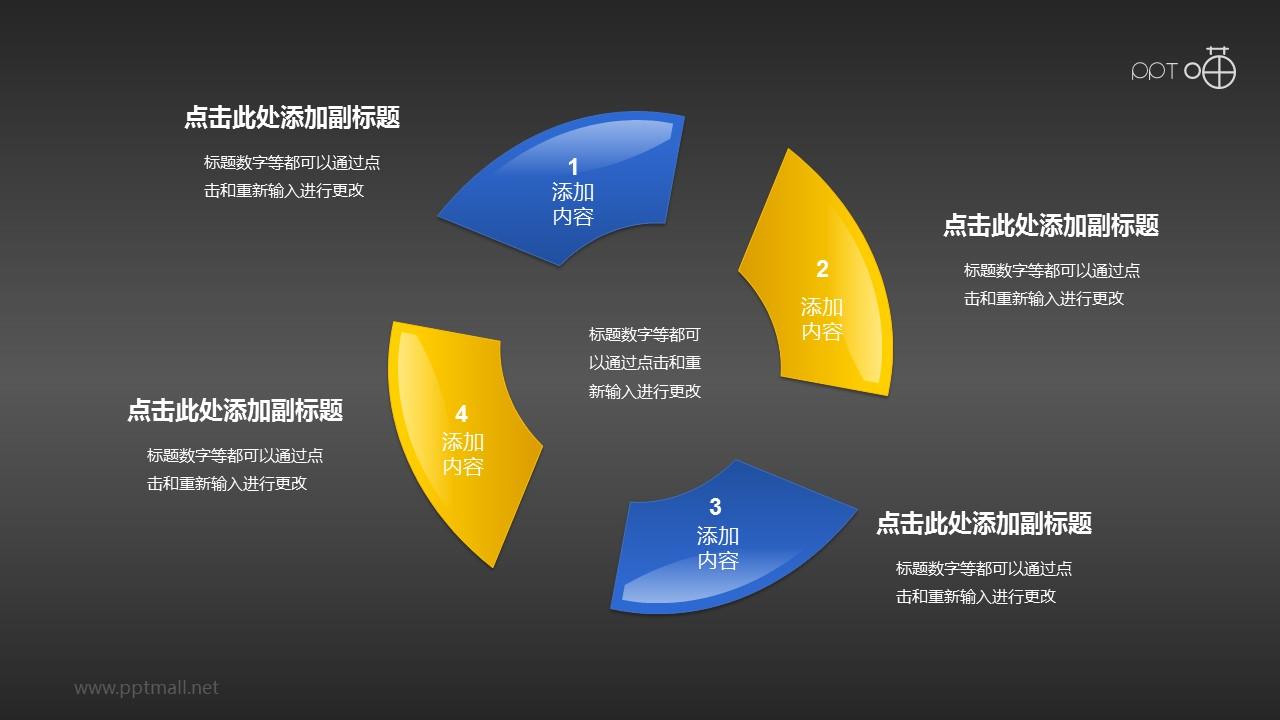 蓝黄图形组合(系列6)循环关系PPT素材