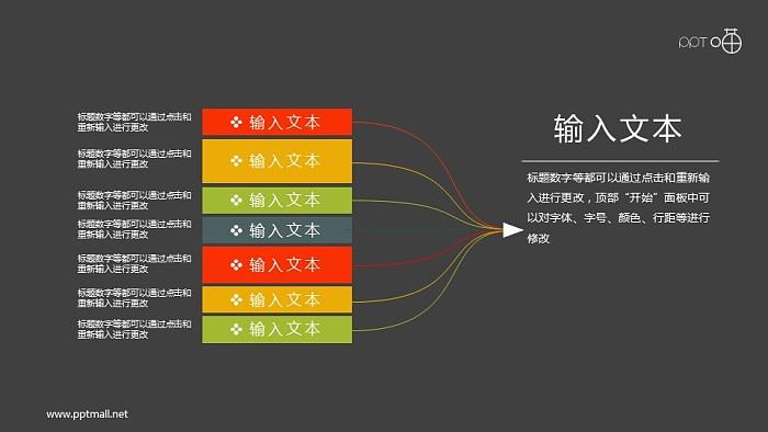 扁平化8合1的汇聚关系思维导图PPT素材_幻灯片预览图2
