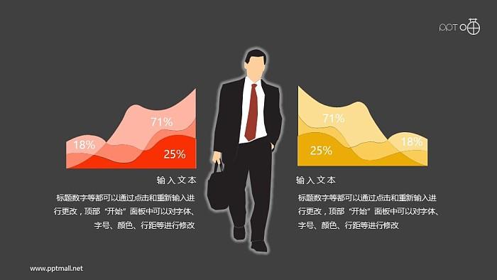 带绩效面积图的扁平化商务人物素材_幻灯片预览图2