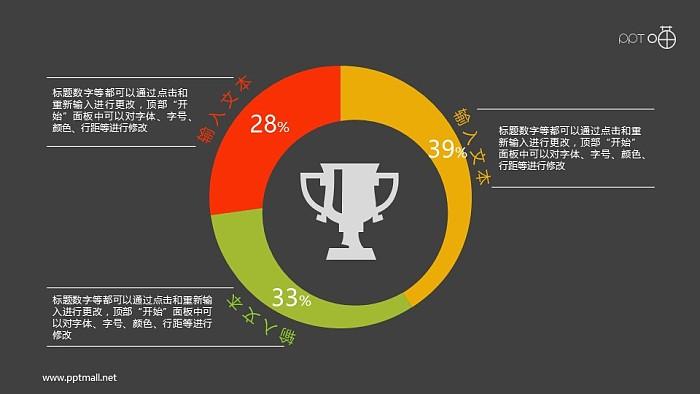 奖杯点缀的3部分偏心圆环图ppt素材_幻灯片预览图2