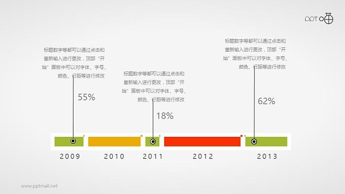 简约的扁平化时间轴PPT素材_幻灯片预览图1