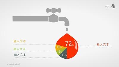 表达水资源状况的扁平化饼图素材