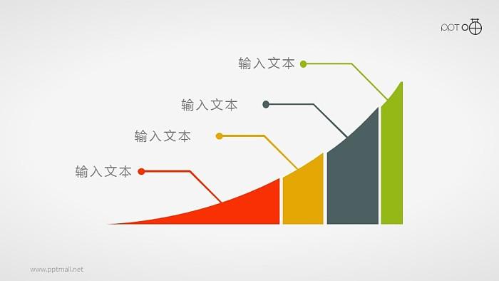 连续增长的扁平化面积图PPT素材_幻灯片预览图1