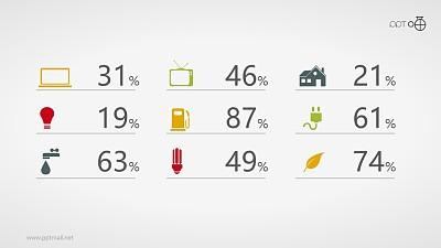 一组带百分比数据的彩色图标素材