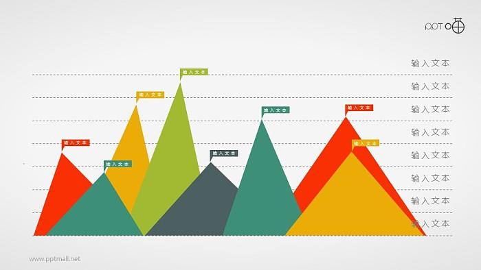 扁平化的彩色峰面积图PPT素材_幻灯片预览图1