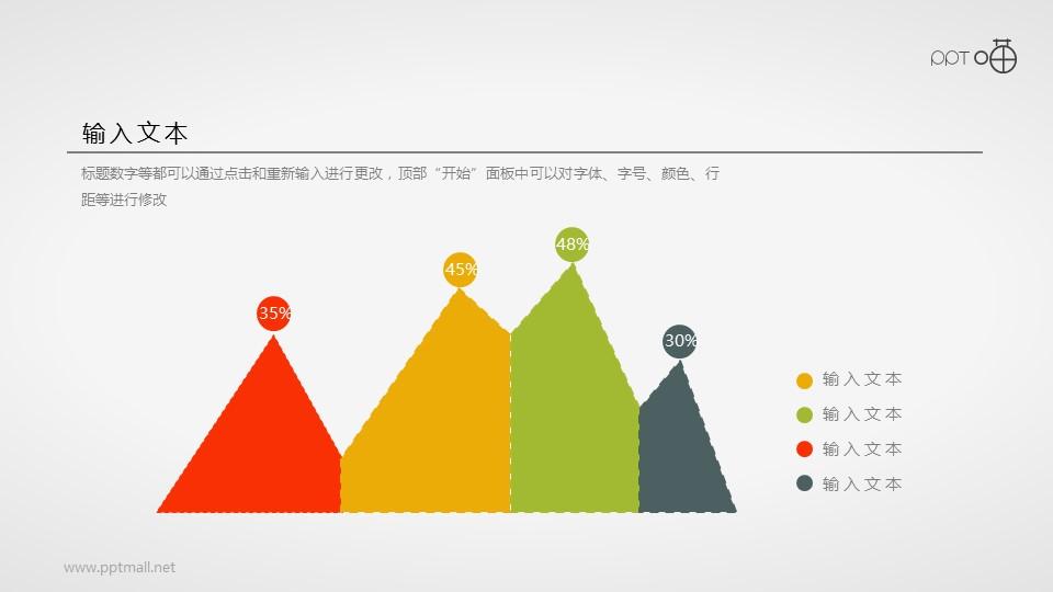扁平化的清新四色面积图PPT素材