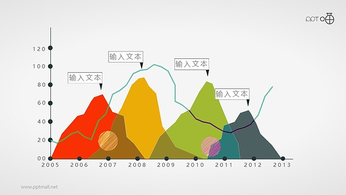 扁平化的手绘峰面积图PPT素材_幻灯片预览图1