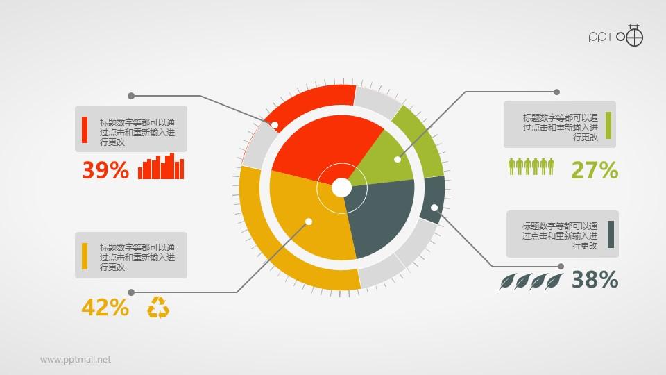 带图标的扁平化科技感圆环图PPT素材
