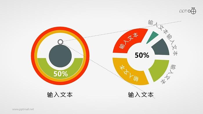 适合数据分析的扁平化条形图PPT素材_幻灯片预览图1