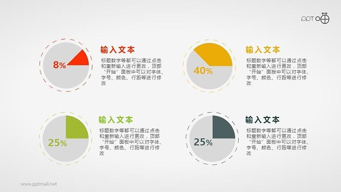 简约的扁平化四色圆饼图PPT素材_幻灯片预览图1
