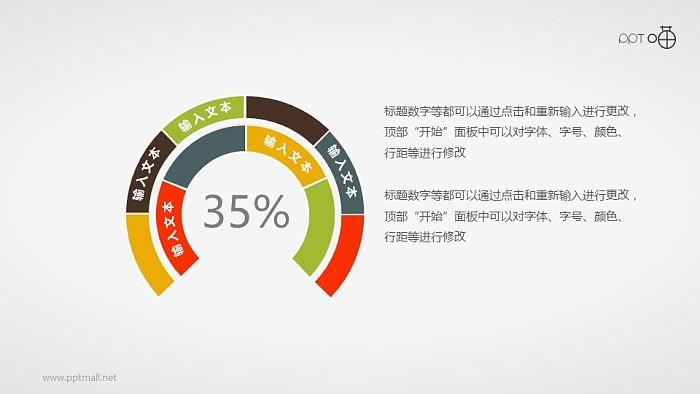 扁平化的两层圆环图PPT素材_幻灯片预览图1