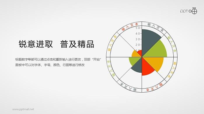 八个方向的扁平化雷达图PPT素材_幻灯片预览图1