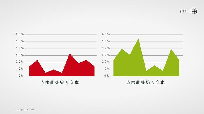扁平化的红绿两部分山峰面积图素材_幻灯片预览图1