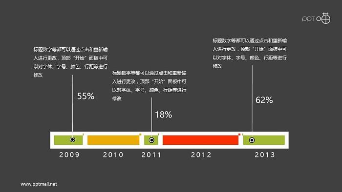 简约的扁平化时间轴PPT素材_幻灯片预览图2