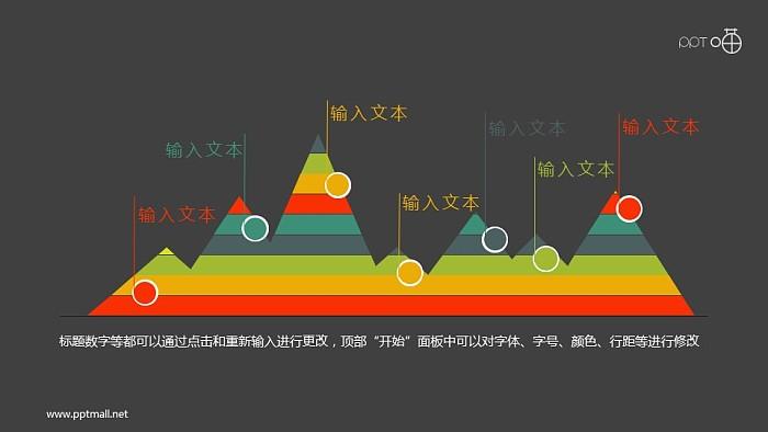 扁平化彩色峰面积图PPT素材_幻灯片预览图2