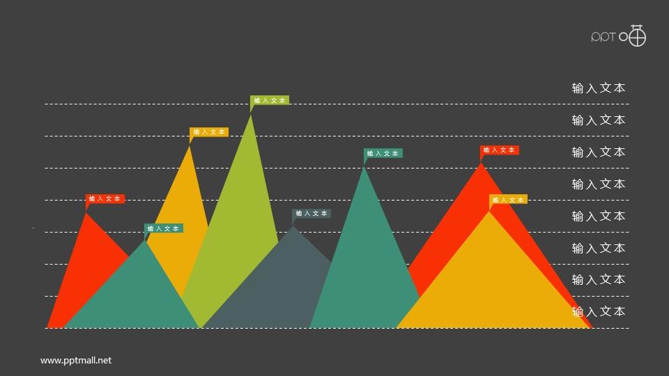 扁平化的彩色峰面积图PPT素材