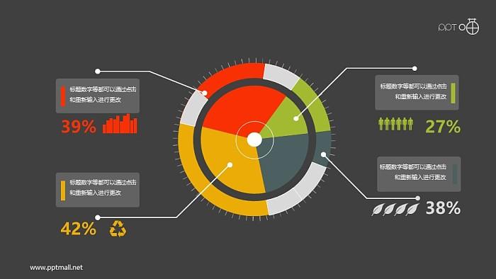 带图标的扁平化科技感圆环图PPT素材_幻灯片预览图2
