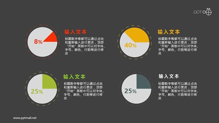 简约的扁平化四色圆饼图PPT素材_幻灯片预览图2
