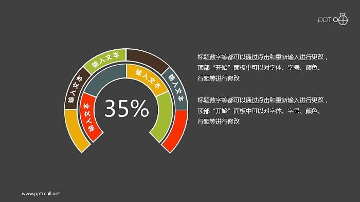 扁平化的两层圆环图PPT素材_幻灯片预览图2