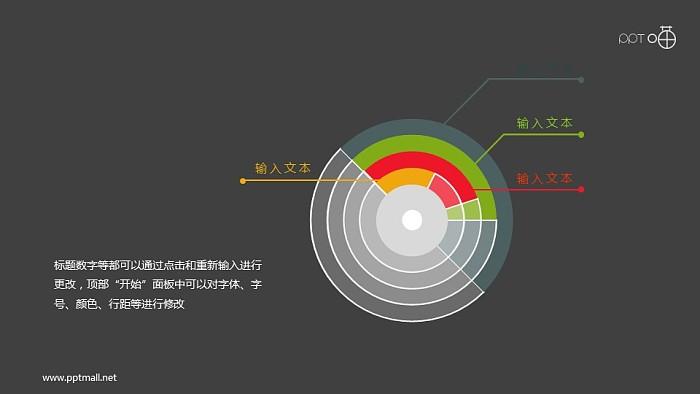扁平化的半透明环条形图PPT素材_幻灯片预览图2