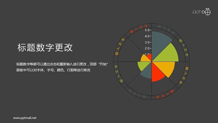 八个方向的扁平化雷达图PPT素材_幻灯片预览图2