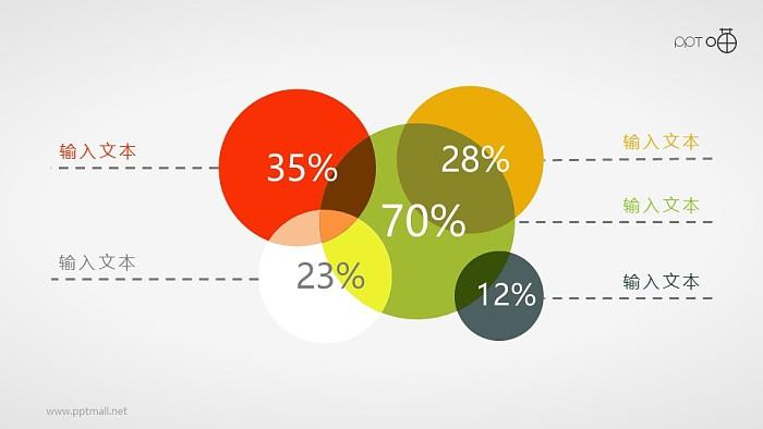 堆积的彩色圆形面积图PPT素材_幻灯片预览图1
