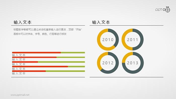 一组扁平化的条形图和圆环图组合数据表_幻灯片预览图1