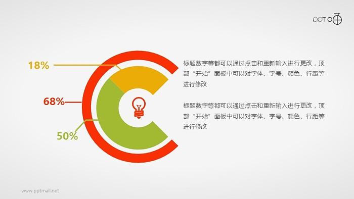 带灯泡图标的扁平化双层圆环图素材_幻灯片预览图1