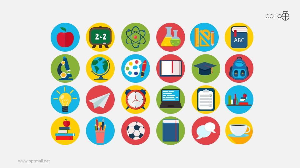 彩色矢量扁平化教育系列图标PPT素材