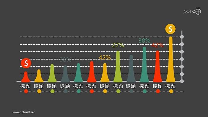 扁平化的火山锥形柱状图PPT素材_幻灯片预览图2