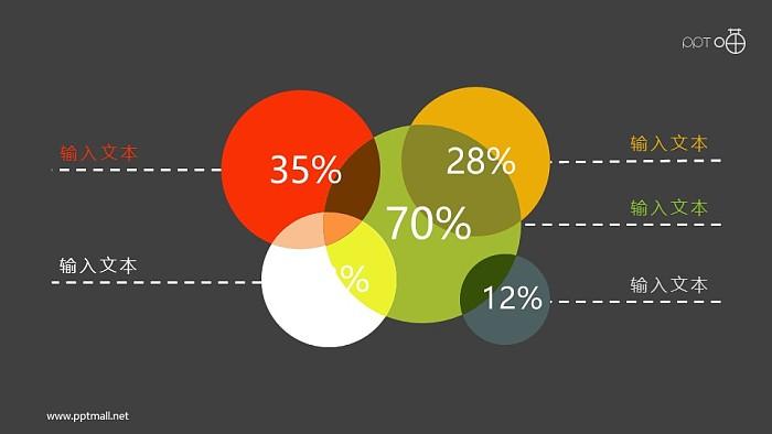 堆积的彩色圆形面积图PPT素材_幻灯片预览图2