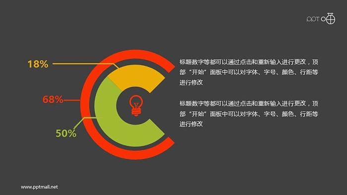 带灯泡图标的扁平化双层圆环图素材_幻灯片预览图2