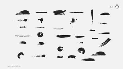 水墨中国风的墨迹笔刷矢量PPT素材包