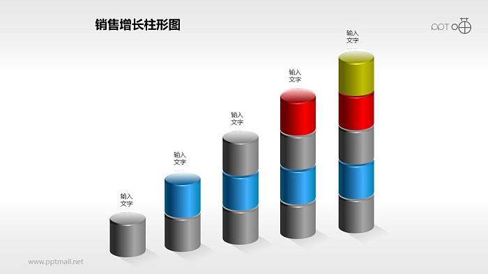 反映销售/经济等数据增长的立体质感柱状图PPT素材(4)_幻灯片预览图1