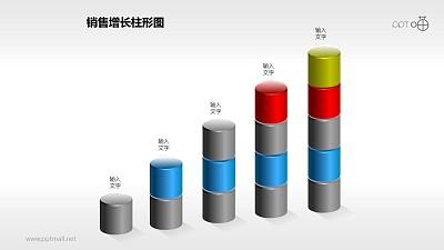 反映销售/经济等数据增长的立体质感柱状图PPT素材(4)