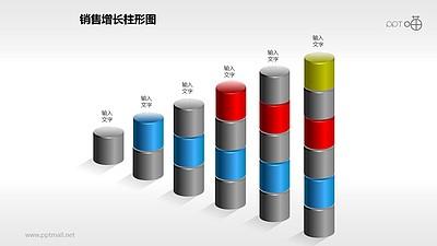 反映销售/经济等数据增长的立体质感柱状图PPT素材(5)