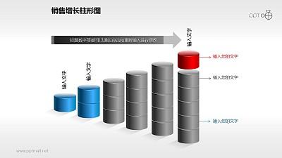 反映销售/经济等数据增长的立体质感柱状图PPT素材(6)