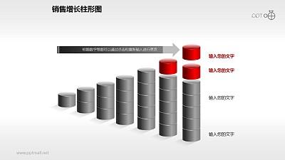 反映销售/经济等数据增长的立体质感柱状图PPT素材(7)