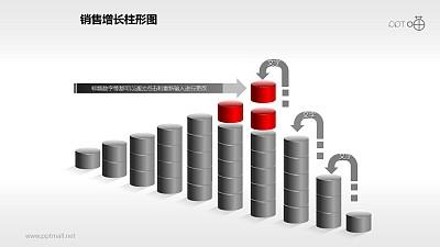 反映销售/经济等跳跃增长的立体质感柱状图PPT素材(8)