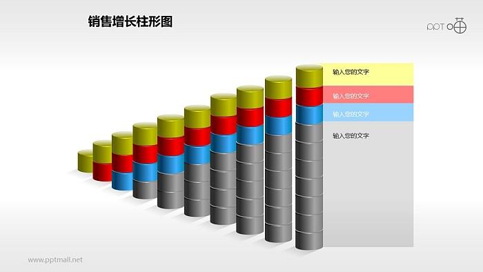 反映销售/经济等数据增长的立体质感柱状图PPT素材(11)_幻灯片预览图1