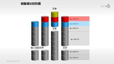 反映销售/经济等数据变化的立体质感柱状图PPT素材(13)