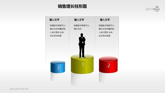 反映销售业绩/能力排行的立体质感颁奖台PPT素材_幻灯片预览图1