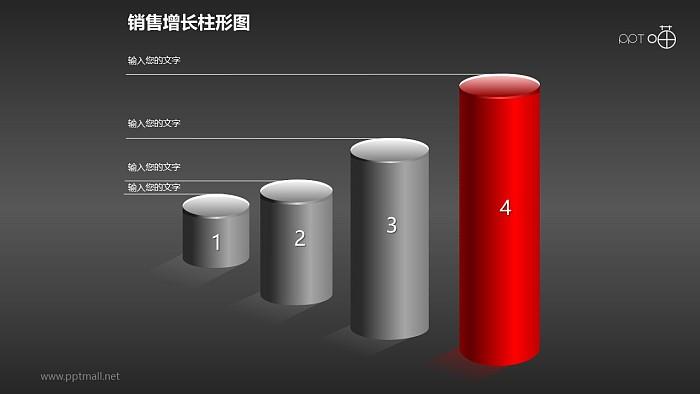 反映销售/经济等数据增长的立体质感柱状图PPT素材(1)_幻灯片预览图2
