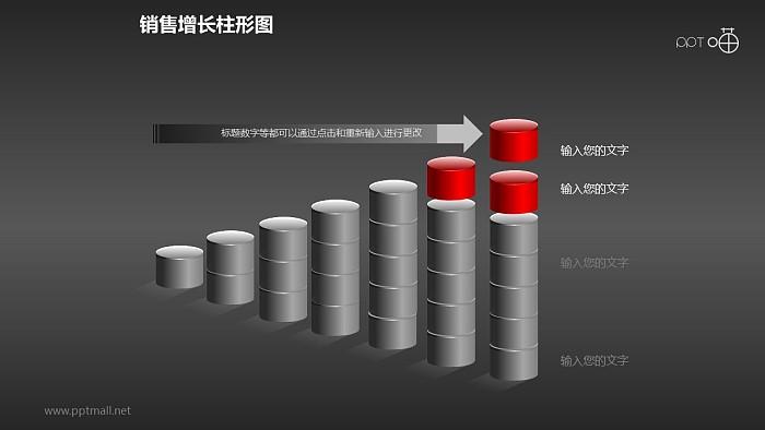 反映销售/经济等数据增长的立体质感柱状图PPT素材(7)_幻灯片预览图2